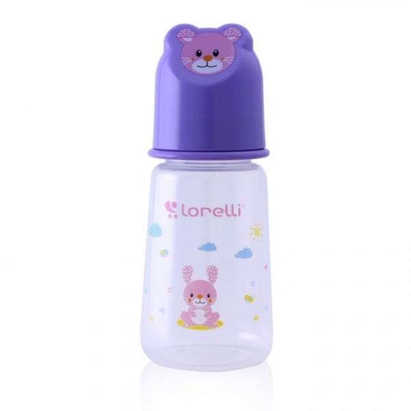 Dojčenská fľaštička Lorelli 125 ml s vikom v tvare zvieraťa, violet