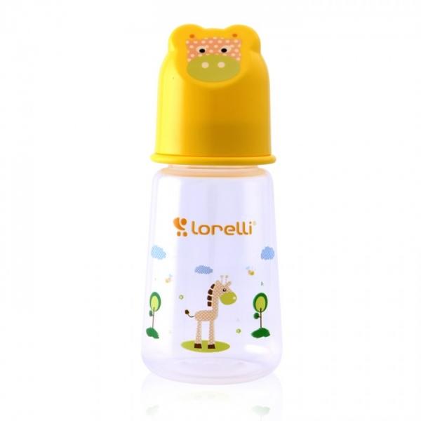 Dojčenská fľaštička Lorelli 125 ml s vikom v tvare zvieraťa, yellow