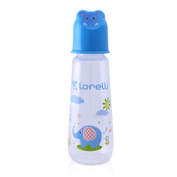Dojčenská fľaštička Lorelli 250 ml s vikom v tvare zvieraťa, blue