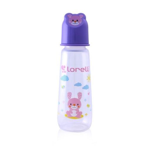 Dojčenská fľaštička Lorelli 250 ml s vikom v tvare zvieraťa,violet