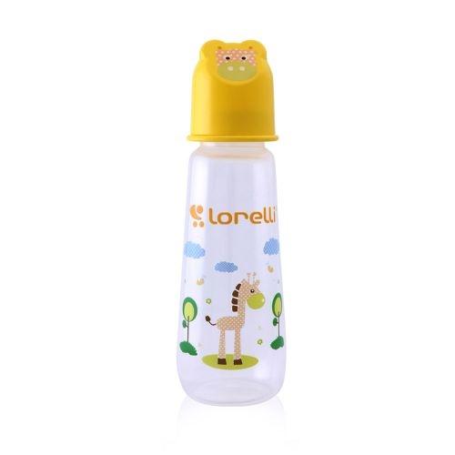 Dojčenská fľaštička Lorelli 250 ml s vikom v tvare zvieraťa, yellow