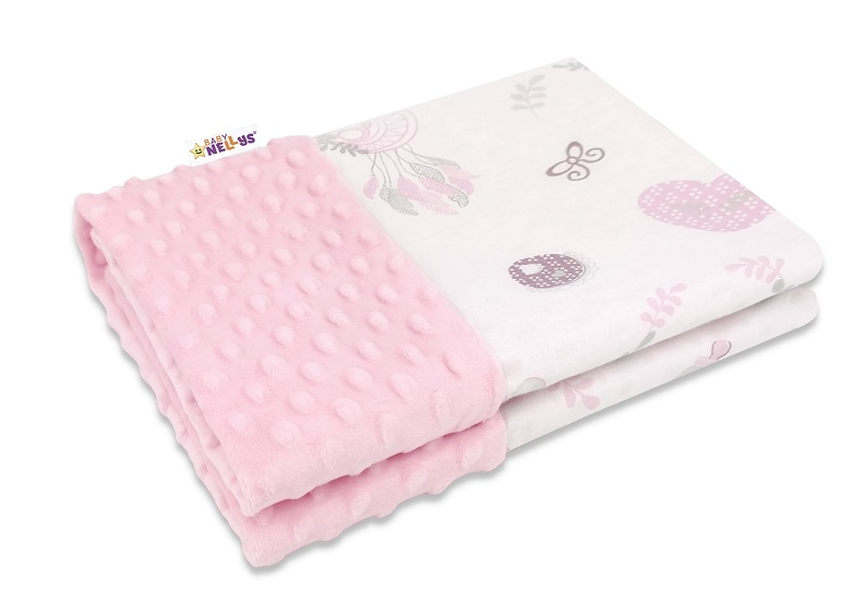 Baby Nellys Bavlnená deka s Minky 100x75cm, New Love Baby - růžová