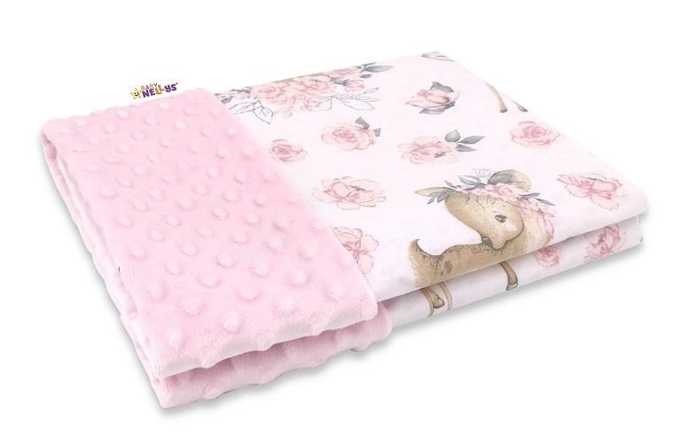 Baby Nellys Bavlnená deka s Minky 100x75cm, Srnka a růža - růžová