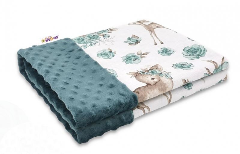 Baby Nellys Bavlnená deka s Minky 100x75cm, Srnka a růža - zelená