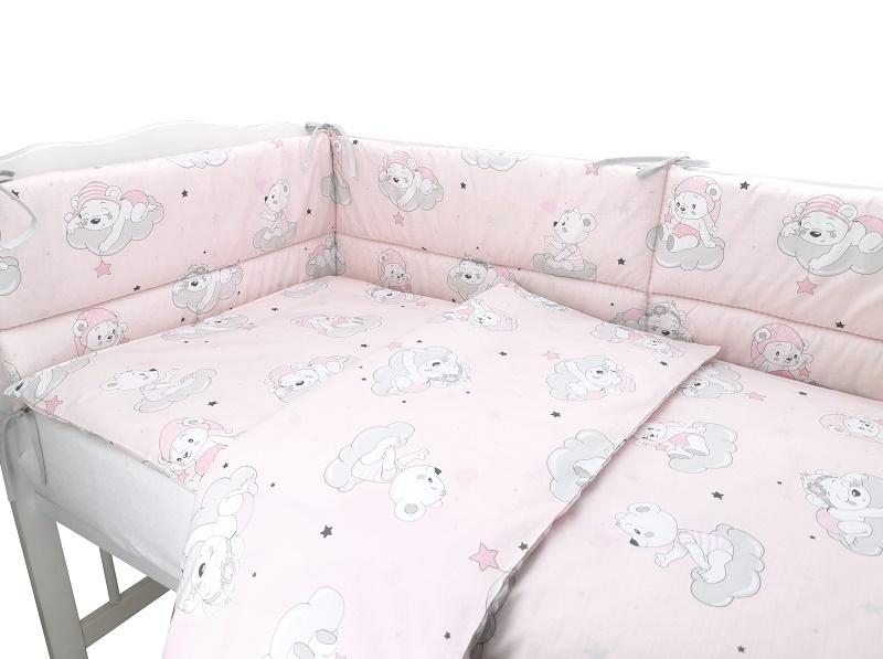 BABY NELLYS 3-dielna sada mantinel s obliečkami, Mráček, růžová