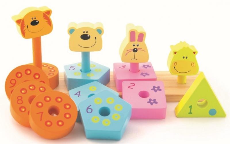 Trefl Drevená navlékačka - Zvieratká a číslice s tvarmi