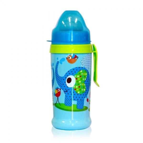 Netečúci fľaša Lorelli s náustkom 360 ml, klip ZOO, blue