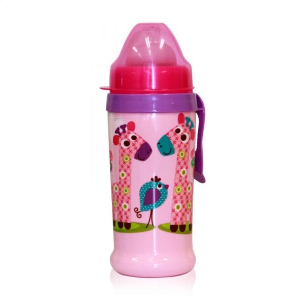 Netečúci fľaša Lorelli s náustkom 360 ml, klip ZOO, pink