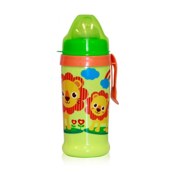Netečúci fľaša Lorelli s náustkom 360 ml, klip ZOO, green