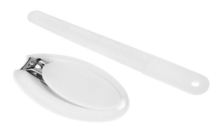 Akuku Sada na manikúru - klieštiky + pilník, biela