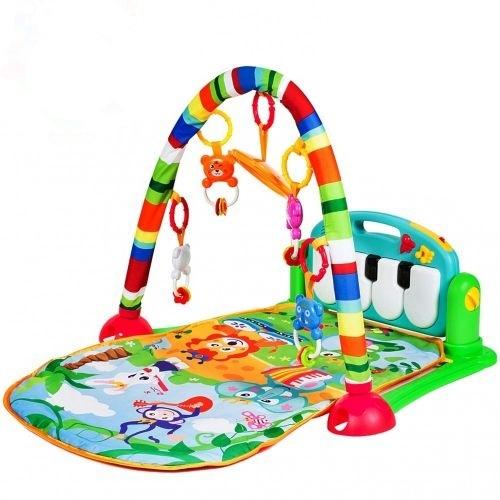 Tulimi Hrajúca interaktívna podložka s hrazdičkou a chrastítky, Hrajúci zvieratká, zelená