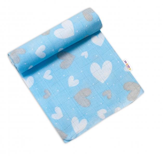 Baby Nellys Kvalitná bavlnená plienka - Tetra Premium, 70x80cm - Srdiečka v modrej