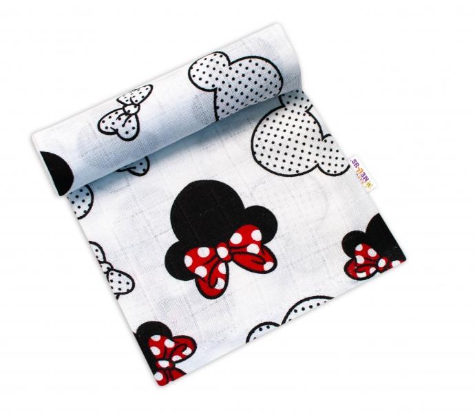 Baby Nellys Kvalitná bavlnená plienka - Tetra Premium, 70x80cm - myška Minnie, biela