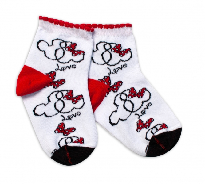 Baby Nellys Bavlnené ponožky Minnie Love - biele
