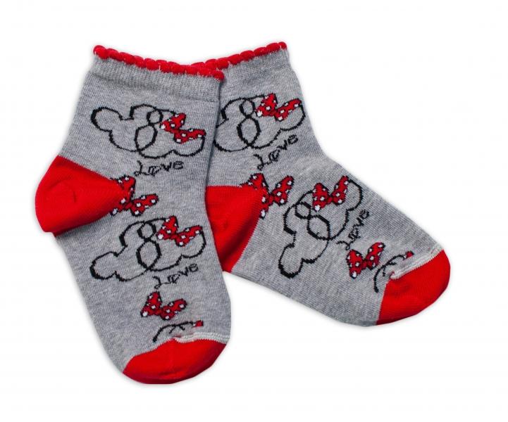 Baby Nellys Bavlnené ponožky Minnie Love - sivé, veľ. 122/128