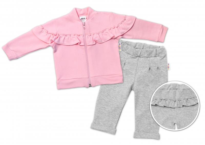 BABY NELLYS Detská tepláková súprava s volánikom - ružová, šedá, veľ. 80
