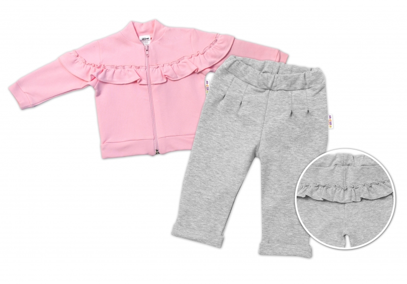 BABY NELLYS Detská tepláková súprava s volánikom - ružová, šedá, veľ. 92-#Velikost koj. oblečení;92 (18-24m)
