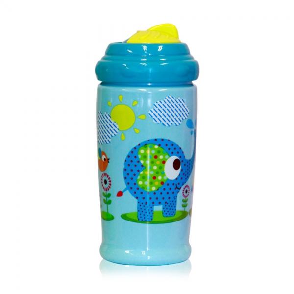 Flaša Lorelli sportovní se slámkou 300 ml  ZOO blue