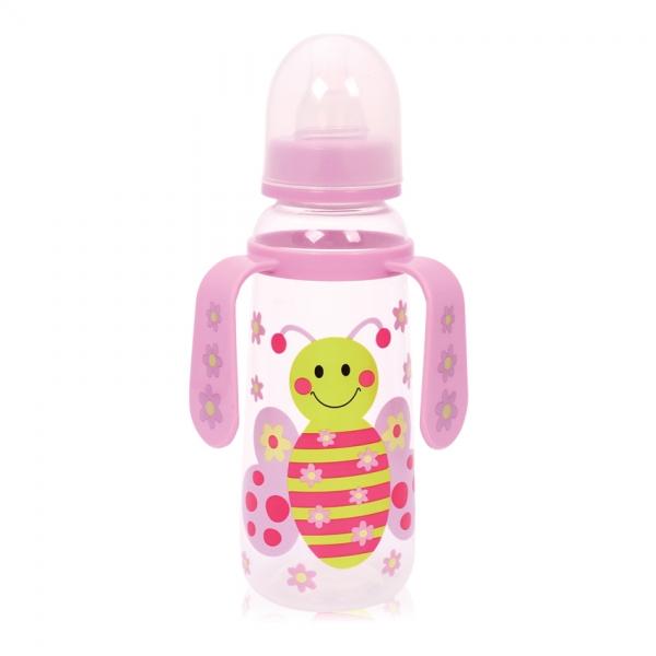 Detská dojčenská fľaša s uškami Lorelli, Butterfly pink