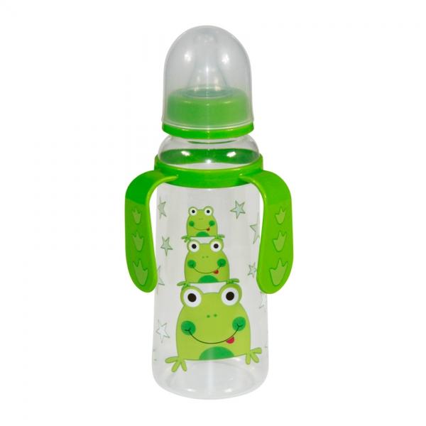 Detská dojčenská fľaša s uškami Lorelli Frog, green
