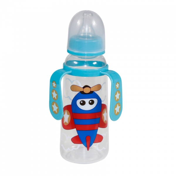 Detská dojčenská fľaša s uškami Lorelli Plane, blue