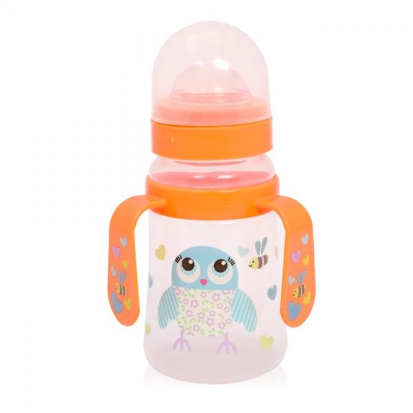 Fľaša na krmenie s uškami Loreli 250 ml so širokým hrdlom Owl orange