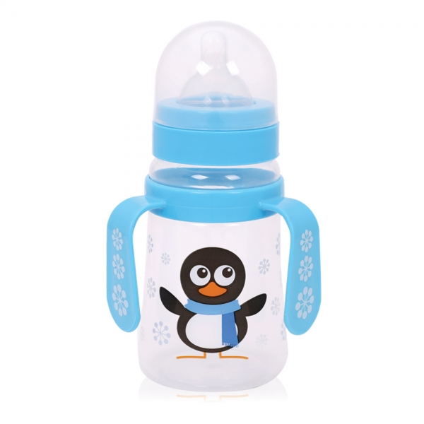 Fľaša na krmenie s uškami Loreli 250 ml so širokým hrdlom Pengiun blue