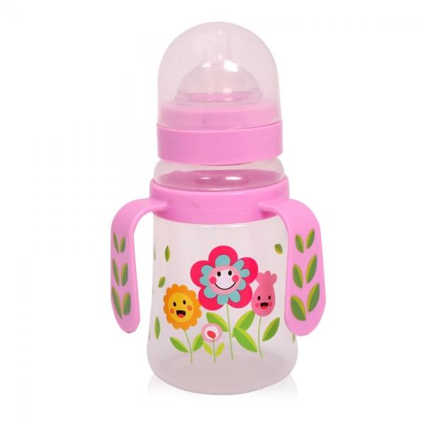 Fľaša na krmenie s uškami Loreli 250 ml so širokým hrdlom Flower pink