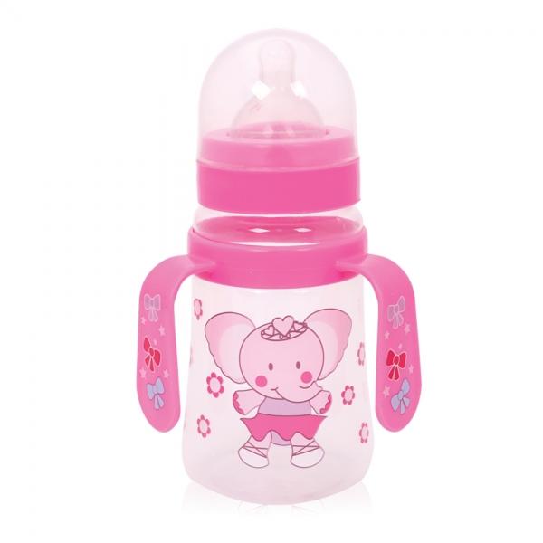 Fľaša na krmenie s uškami Loreli 250 ml so širokým hrdlom Elefant, pink