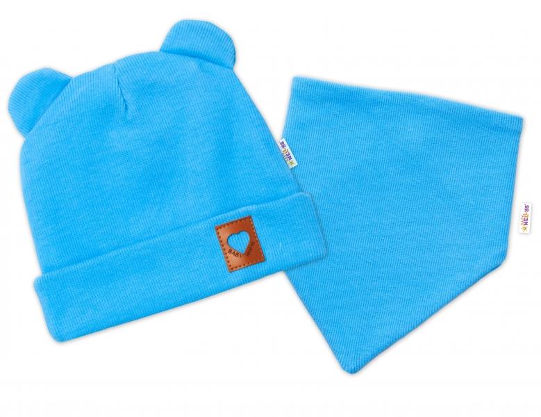 Baby Nellys Rebrovaná dvojvrstvová čiapka s uškami + šatka TEDDY - modrá, 48-50