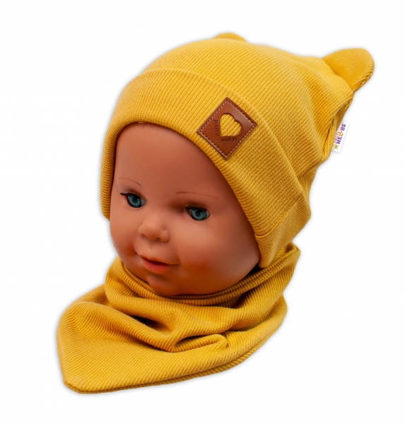 Baby Nellys Rebrovaná dvojvrstvová čiapka s uškami + šatka TEDDY - horčicová