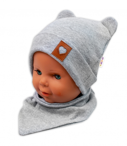 Baby Nellys Rebrovaná dvojvrstvová čiapka s uškami + šatka TEDDY - sivá