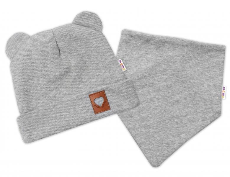 Baby Nellys Rebrovaná dvojvrstvová čiapka s uškami + šatka TEDDY - sivá, 40-42