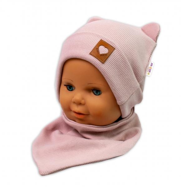 Baby Nellys Rebrovaná dvojvrstvová čiapka s uškami + šatka TEDDY - púdrová