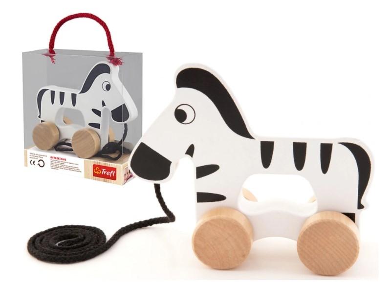 Trefl Edukačná drevená hračka 14 cm ťahaci - Zebra