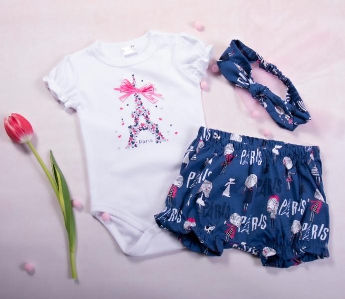 K-Baby 3 dielna detská súprava, body s kr. rukávom, kraťasky, čelenka Love Paris, granát