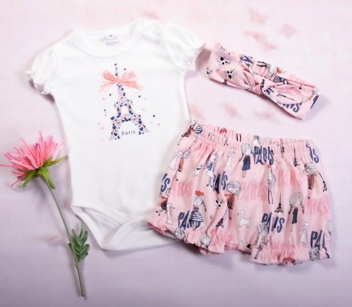 K-Baby 3 dielna detská súprava, body s kr. rukávom,kraťasky,čelenka Love Paris,pink,veľ.86