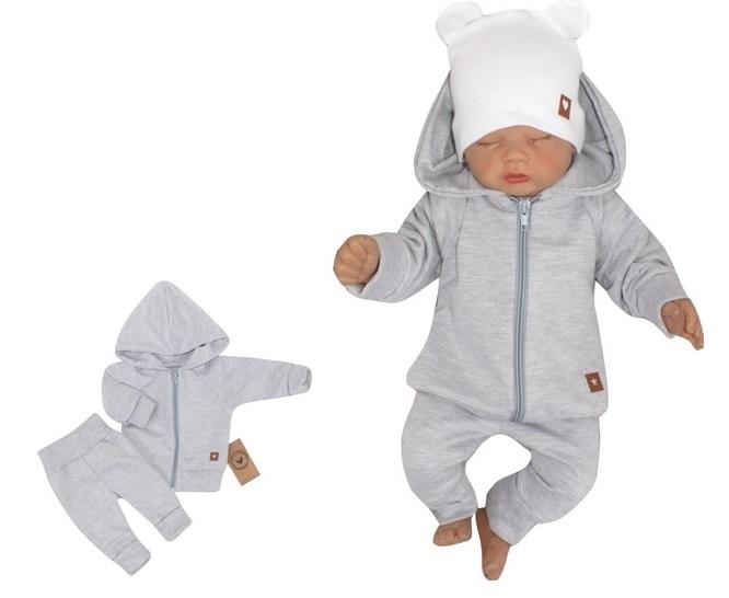 Z & Z 2-dielná bavlnená tepláková súprava Hviezdička - sivá-#Velikost koj. oblečení;56 (1-2m)