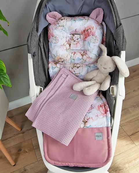 Baby Nellys 2-dielna súprava do kočíka Vafel + bavlna PREMIUM, Pivonky