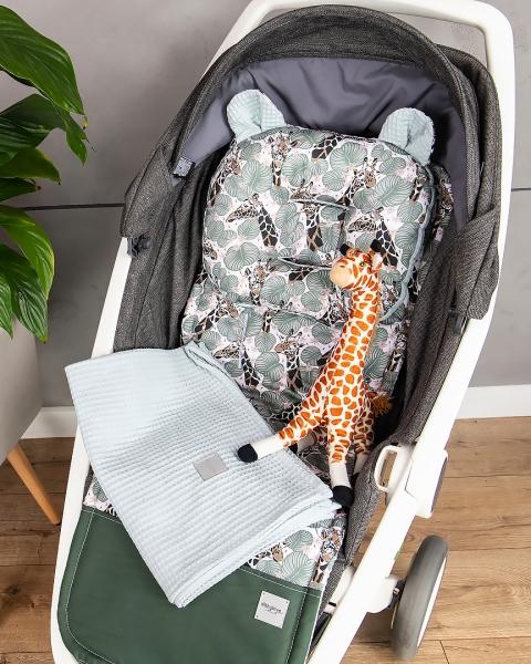 Baby Nellys 2-dielna súprava do kočíka + dečka, Vafel + bavlna PREMIUM, Žirafa