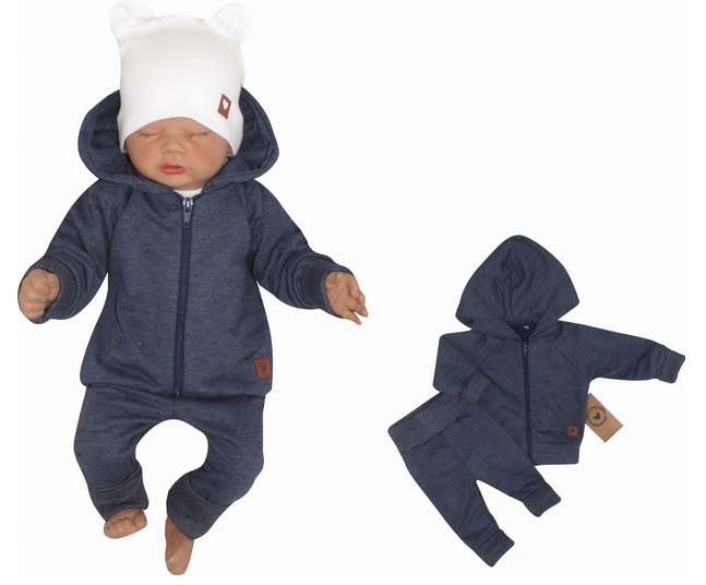 Z & Z 2-dielná bavlnená tepláková súprava Hviezdička - jeans, veľ. 80-#Velikost koj. oblečení;80 (9-12m)
