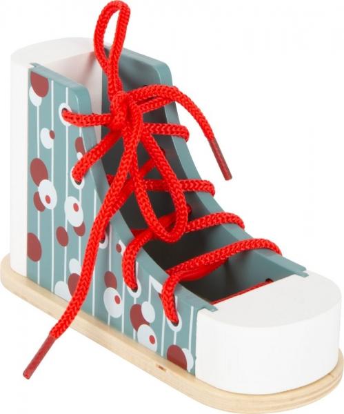 Legler Detská drevená topánka na šnurovanie - modrá