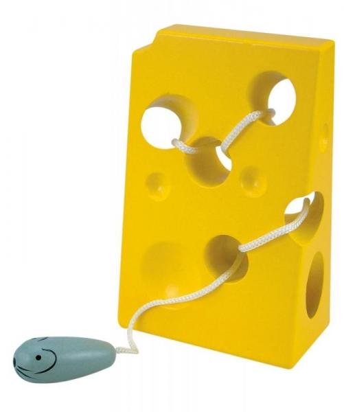 Woody Detská drevená hračka Myška so syrom - žltá