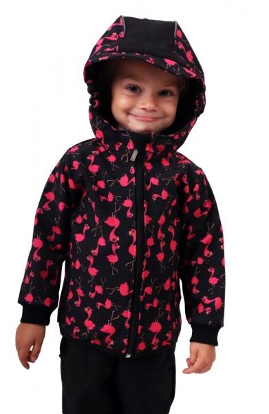 Jožánek Detská softshellová bunda, plameniaky, čierna, veľ. 104