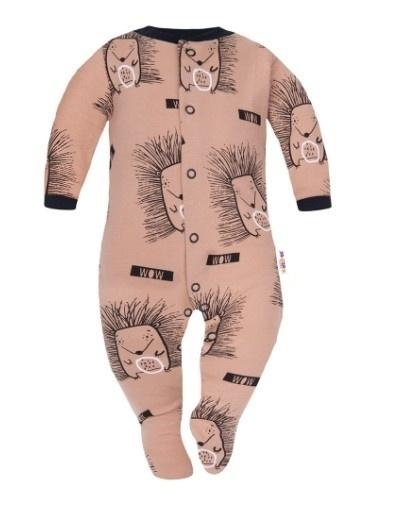 Baby Nellys Overal Ježkovia, zapínanie uprostred, hnedý, veľ 74
