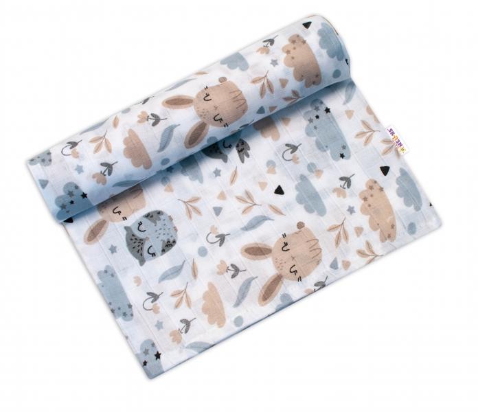 Baby Nellys mušelínové osuška Lux - Zajačikovia, 120 x 120 cm, biela / béžová