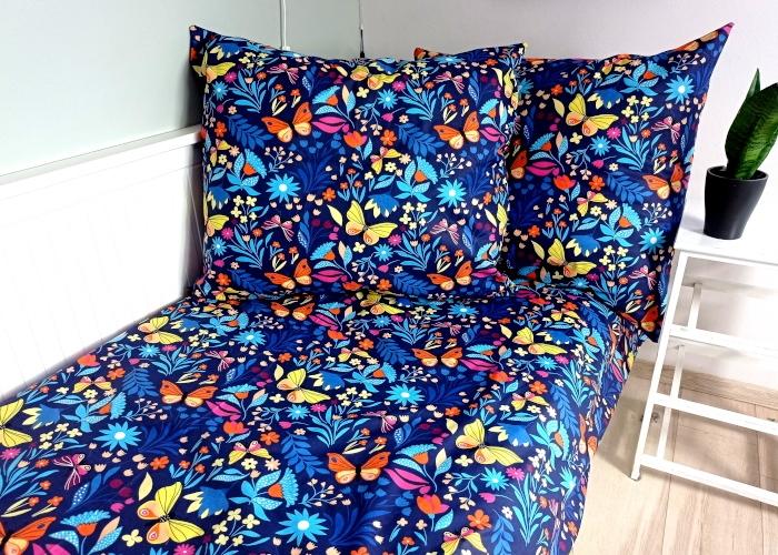 Baby Nellys Bavlněné obliečky 140 x 200, 70 x 90 cm - Motýlia lúka, granát