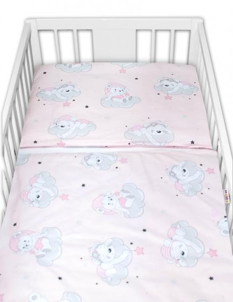 Baby Nellys 2-dielne bavlnené obliečky, Mráček - růžová, 135x100 cm