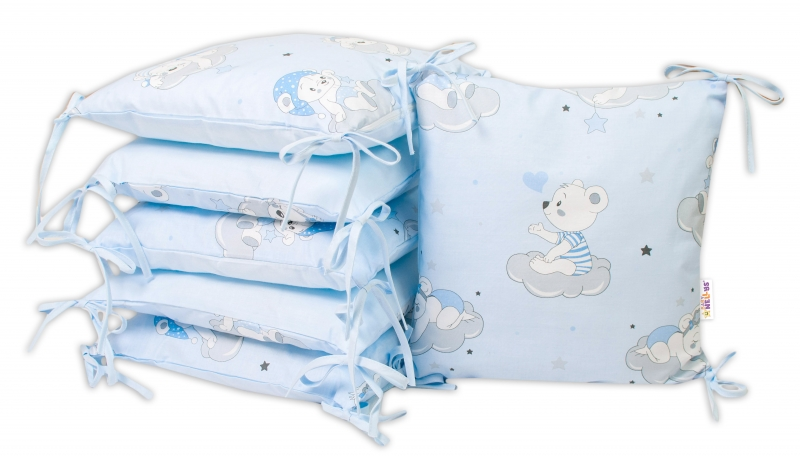 Baby Nellys Bavlnený vankúšikový mantinel, Mráčik - modrá