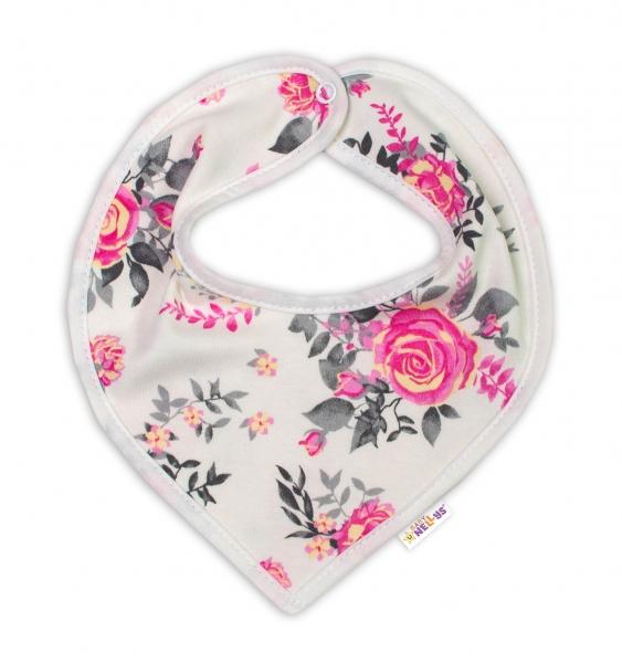 Baby Nellys Bavlnený šátek na krk New Roses - smotanový